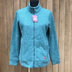 EMS Sweater Fleece Jacket Knit Teal Green Large